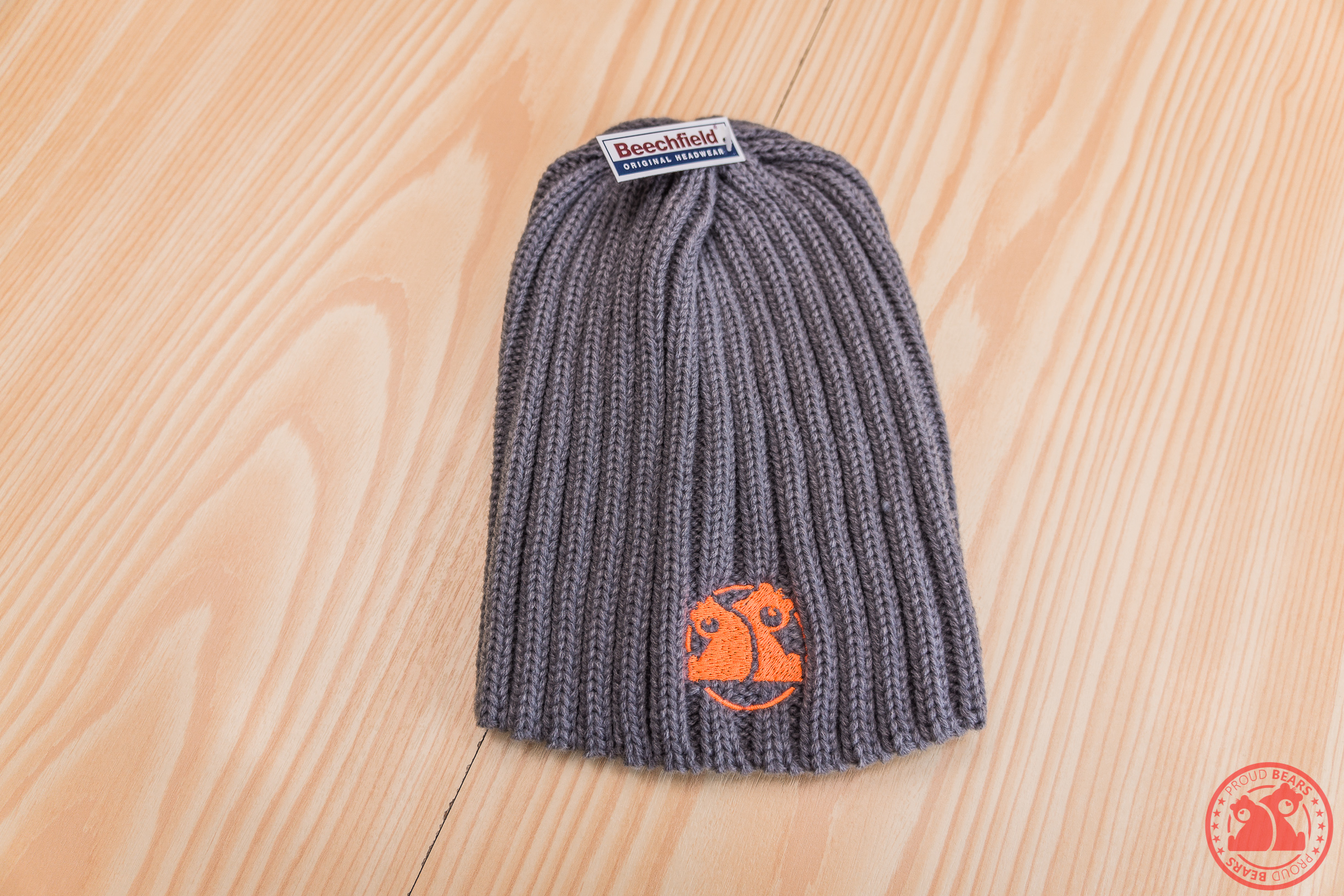 d5d931ed4dc ... Grey Beechfield Chunky Knitted Beanie Hat Orange Logo. Loading.